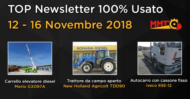 TOP Newsletter 100% Usato - 12 - 16 Novembre 2018