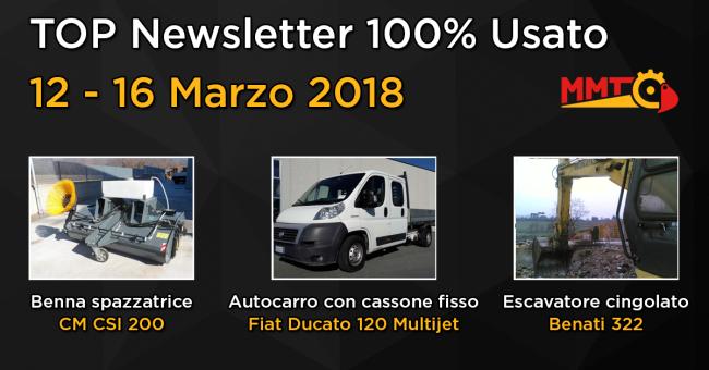 TOP Newsletter 100% Usato - 12 - 16 Marzo 2018